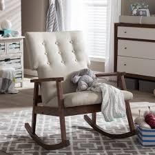 Living Room Rocking Chairs Baxton Studio Agatha Mid Century Beige Fabric Upholstered Rocking