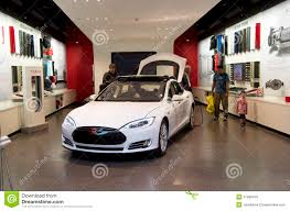 tesla electric car tesla electric car showroom editorial stock photo image 41988418