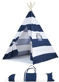 portable kids canvas teepee tent with carrying case large navy