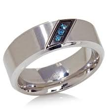 blue diamond wedding rings stainless steel diagonal 0 05ctw blue diamond 3 8mm wedding