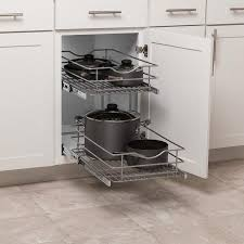 kitchen cabinet storage solutions lowes simply put 14 in w x 19 1875 in h 2 tier pull out metal soft baskets organizers