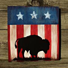 How To Paint American Flag Buffalo Bison Sign American Flag Patriotic Hand Painted Western
