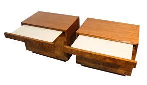 pair milo baughman for lane olive burlwood nightstands tables