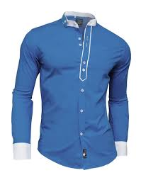 designer men casual formal double cuffs grandad band collar shirt