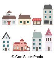 vector illustration of retro real estate symbols private house