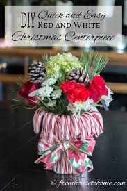 diy quick and easy red and white christmas centerpiece