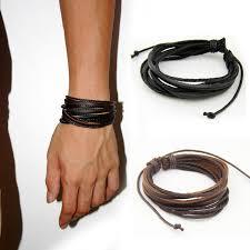 man black leather bracelet images Leather bracelets bangles for men and women black and brown jpg