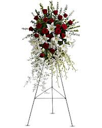 Roses And Lilies Lily And Rose Tribute Spray Sympathy Arrangement Teleflora