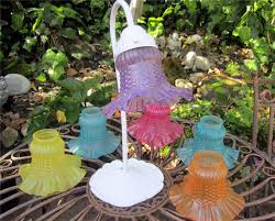 Glass Light Shades For Chandeliers Vintage Repurposed Painted Glass Ruffled Edge Light Shades