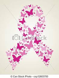 butterfly in breast cancer awareness ribbon pink vector