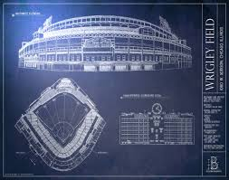 wrigley field blueprint style poster chicago cubs ballpark