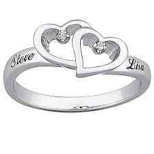 top engraved sterling silver diamond hearts and name promise ring