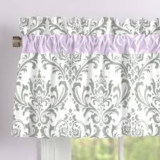 lilac and gray traditions damask window valance rod pocket