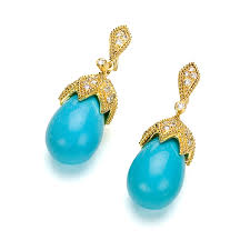 gold earrings in shape a calming shade of blue these sleeping beauty turquoise earrings