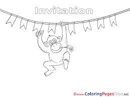 monkey for kids birthday colouring page