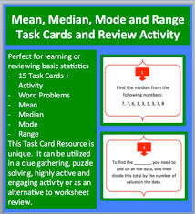 mean median mode and range task cards and unique activity by
