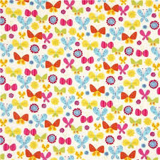 white robert kaufman fabric flower butterfly fabric by
