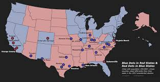 Red States Blue States Map by Blue Dots In Red States And Red Dots In Blue States U0027 Cities Which
