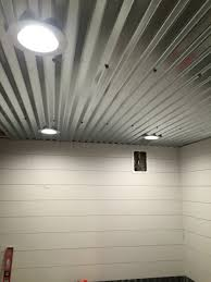 Drop Ceiling For Basement Bathroom by Diy Shiplap Corrugated Sheet Metal Ceiling Camping Kitchen