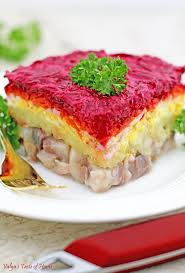 herring shuba layered vegetable and fish salad