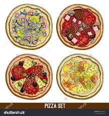 cr駱ine cuisine 设置四个品种的披萨 徒手画 背景 素材 食品及饮料 海洛创意 hellorf