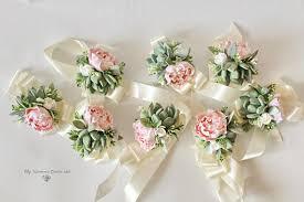 wedding flowers groom succulent corsage bracelet wedding flowers groom boutonniere