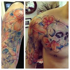 sugar skull tattoo love it watercolor sugar skull with flowers