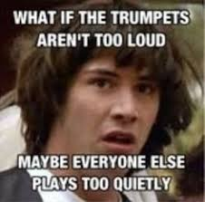 Trumpet Player Memes - bad trumpet player pranks a passing marching band from his balcony