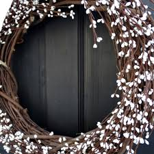 country primitive white pip berry wreath for year round front door