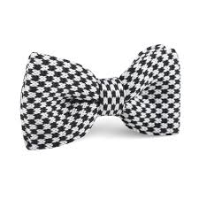 Black And White Checkered Black And White Checkered Knitted Bow Tie Knit Bowties Bowtie