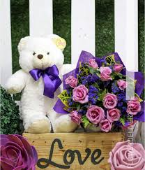 Lavender Roses Dozen Lavender Roses With Bear