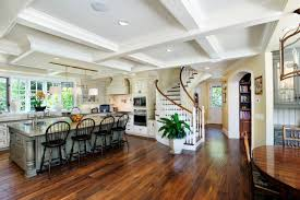interior design ceiling lighting and dark hardwood floors also ceiling lighting and dark hardwood floors also open kitchen with kitchen islands and coffered ceiling plus leaded glass front cabinets also circular