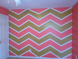 Pink And Gold Bedroom Decor by Pink Gold With Glitter And White Chevron Painted Wall Painting