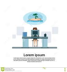 M El Schreibtisch Geschäftsfrau Sitzende Schreibtisch Arbeitslaptop Computer Traum