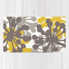Modern Yellow Rug Floral Rug Brown And Mustard Yellow Area Rug Modern
