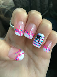 summer nail designs pink and blue strips palm tree french