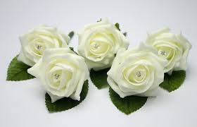 wedding flowers buttonholes 5 ivory wedding buttonholes with daimante pins co uk