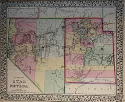 Maps Of Utah by Map Of Utah And Nevada 1869