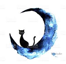 watercolor painting of black cat sitting on the moon