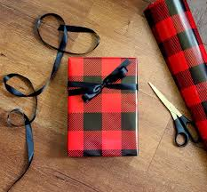 country christmas wrapping paper and black buffalo plaid wrapping paper 10 ft x 2 ft