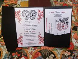 wedding invitations rose black u0026 red sugar skull roses pocket folder wedding invitations