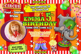 circus carnival photo birthday invitation party digital file
