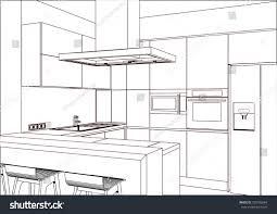 3d vector sketch modern kitchen design stock vector 730102684 modern kitchen design in home interior kitchen sketch there is