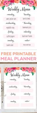 organized home printable menu planner free printable weekly meal planner time management tip
