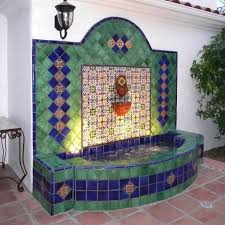 Outdoor Water Fountains With Lights Wall Fountain With Lights Using Mexican Tiles By
