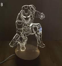 Iron Man Night Light Creative 3d Led Night Light Iron Man Acrylic 3 Style
