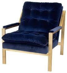 Blue Velvet Accent Chair Cumulus Regency Navy Blue Velvet Gold Arm Chair