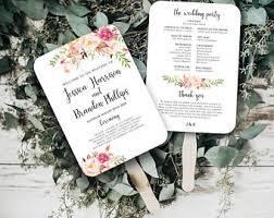wedding program templates fans wedding fan template etsy