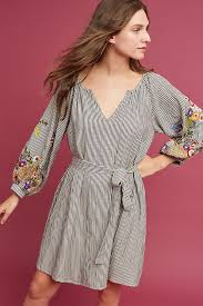 embroidered tunic dress grey anthropologie