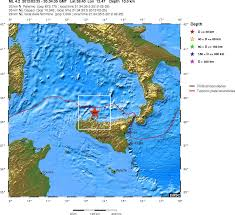 Sicily Italy Map by An Ml4 2 Earthquake Close To Sicily Coast Italy Iceland Geology